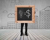 Businessman Hold Blackboard With Hand-drawn Ideas Equal Money Concept