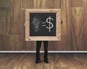 Man Hold Blackboard With Hand-drawn Ideas Equal Money Concept