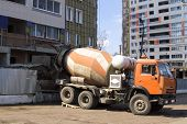 Ready-mix Truck On Building