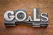 goals word in vintage metal type printing blocks over grunge wood