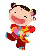 Chinese new year greeting card - girl