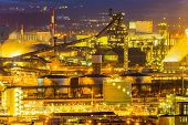 austria, upper austria, linz. night view of the industrial area