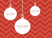 Vector colorful ikat chevron Christmas ornaments silhouettes pattern frame card template