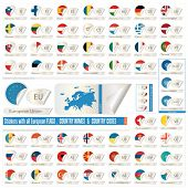 Stickers With All European Counrtys  Flags, Names End Abbreviations