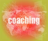 Coaching Word On Touch Screen, Modern Virtual Technology Background