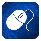 computer mouse flat icon, christmas button
