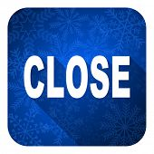 close flat icon, christmas button