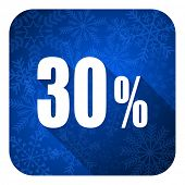 30 percent flat icon, christmas button, sale sign