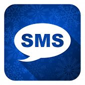 sms flat icon, christmas button, message sign