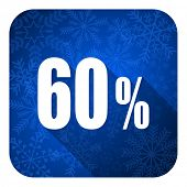 60 percent flat icon, christmas button, sale sign