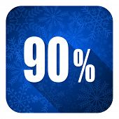 90 percent flat icon, christmas button, sale sign