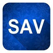 sav flat icon, christmas button
