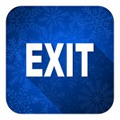 exit flat icon, christmas button