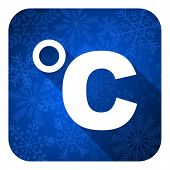 celsius flat icon, christmas button, temperature unit sign