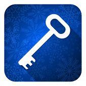 key flat icon, christmas button, secure symbol