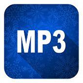 mp3 flat icon, christmas button