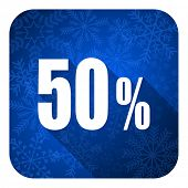 50 percent flat icon, christmas button, sale sign