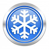 snow icon, blue button, air conditioning sign