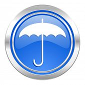 umbrella icon, blue button, protection sign
