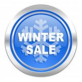 winter sale icon, blue button