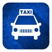 taxi flat icon, christmas button