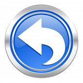 back icon, blue button, arrow sign