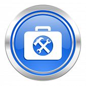 toolkit icon, blue button, service sign