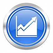 histogram icon, blue button, stock sign