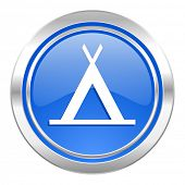 camp icon, blue button
