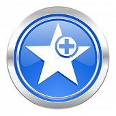 star icon, blue button, add favourite sign