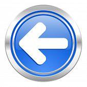 left arrow icon, blue button, arrow sign