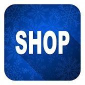 shop flat icon, christmas button