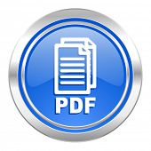 pdf icon, blue button, pdf file sign