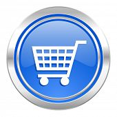 cart icon, blue button, shop sign