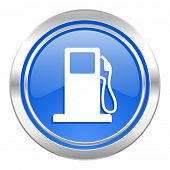 petrol icon, blue button, gas station sign
