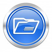 folder icon, blue button