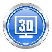 3d display icon, blue button