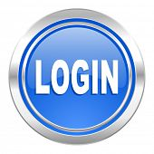 login icon, blue button
