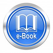 book icon, blue button, e-book sign