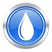 water drop icon, blue button