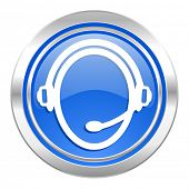 customer service icon, blue button