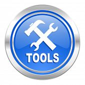 tools icon, blue button