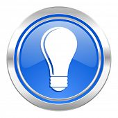 bulb icon, blue button, idea sign