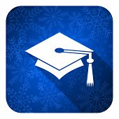 education flat icon, christmas button, graduation sign
