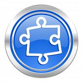 puzzle icon, blue button