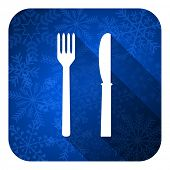 eat flat icon, christmas button, restaurant sign