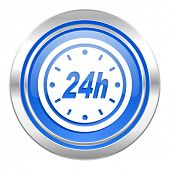 24h icon, blue button