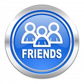 friends icon, blue button