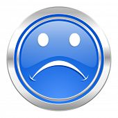 cry icon, blue button