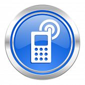 phone icon, blue button, mobile phone sign
